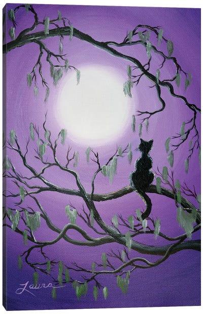 Black Cat In Mossy Tree Canvas Art Print