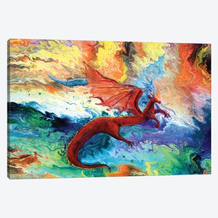 Fire And Ice Dragons Canvas Print #LAI133} by Laura Iverson Canvas Artwork