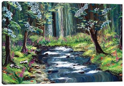 Skunks Under Dogwood Trees Canvas Art Print