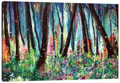 Woodland Wildflowers and Butterflies Canvas Art Print
