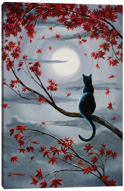Black Cat In Silvery Moonlight Canvas Art Print