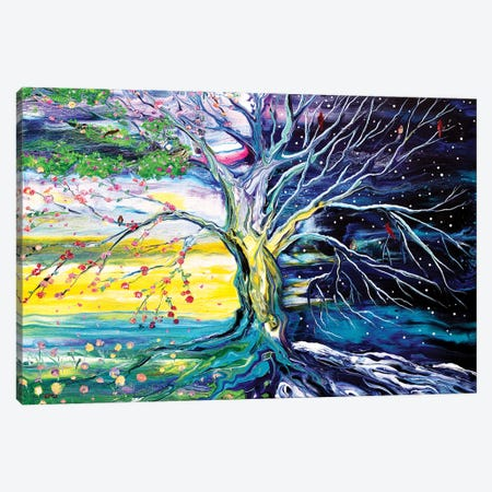 Birds In Spring And Winter Tree Of Life Canvas Print #LAI145} by Laura Iverson Canvas Artwork