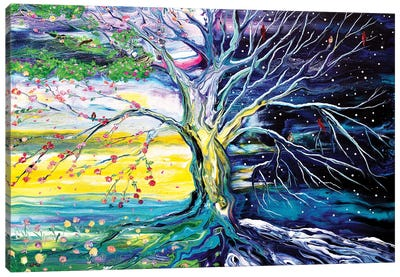 Birds In Spring And Winter Tree Of Life Canvas Art Print
