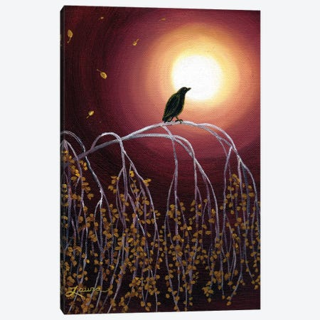 Black Crow On White Birch Branches Canvas Print #LAI14} by Laura Iverson Canvas Art