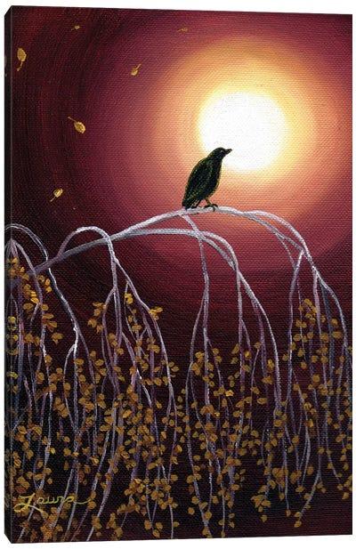 Black Crow On White Birch Branches Canvas Art Print