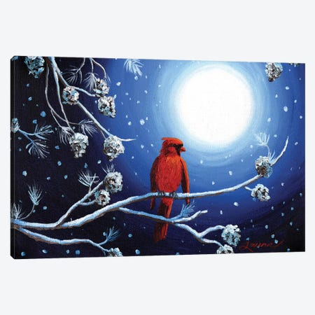 Cardinal On Christmas Eve Canvas Print #LAI20} by Laura Iverson Canvas Wall Art