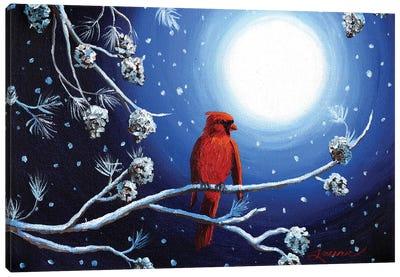 Cardinal On Christmas Eve Canvas Art Print