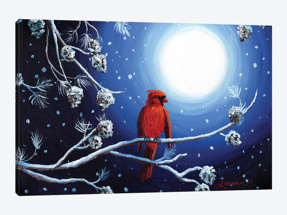 Cardinal On Christmas Eve by Laura Iverson 1-piece Canvas Art