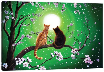 Cats On A Spring Night Canvas Art Print