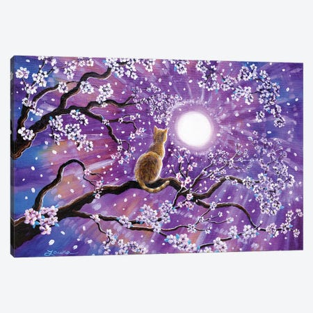 Champagne Tabby Cat In Cherry Blossoms Canvas Print #LAI23} by Laura Iverson Canvas Wall Art