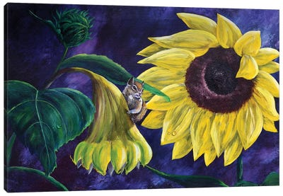 Chipmunk In Sunflowers Canvas Art Print