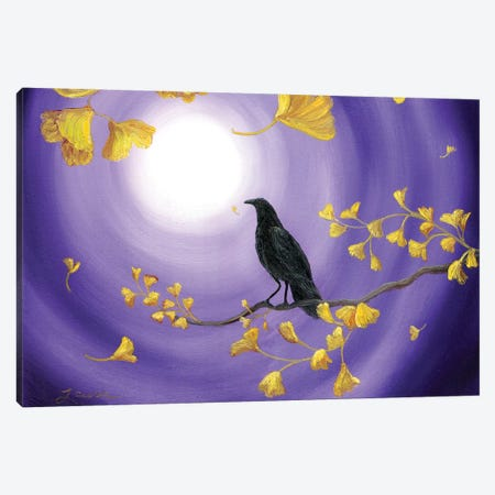 Crow In Ginkgo Leaves Canvas Print #LAI29} by Laura Iverson Canvas Art