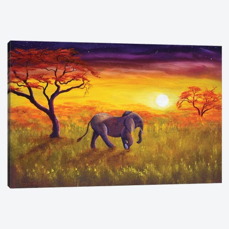 Elephant In Purple Twilight Canvas Print #LAI35} by Laura Iverson Canvas Wall Art