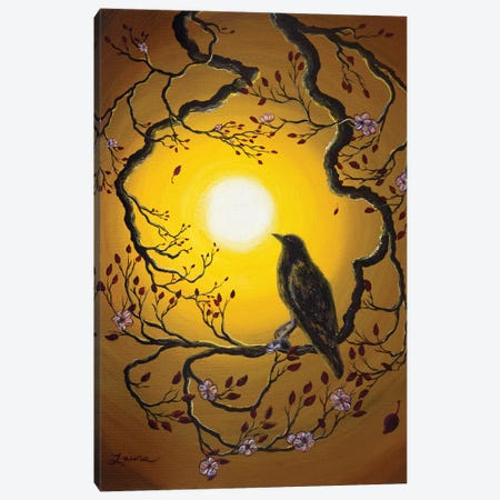 A Raven Remembers Spring Canvas Print #LAI3} by Laura Iverson Canvas Art Print