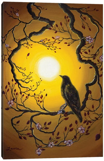 A Raven Remembers Spring Canvas Art Print