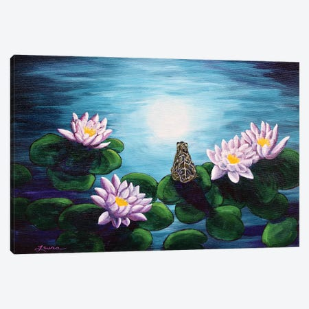 Frog In A Moonlit Pond Canvas Print #LAI40} by Laura Iverson Canvas Art