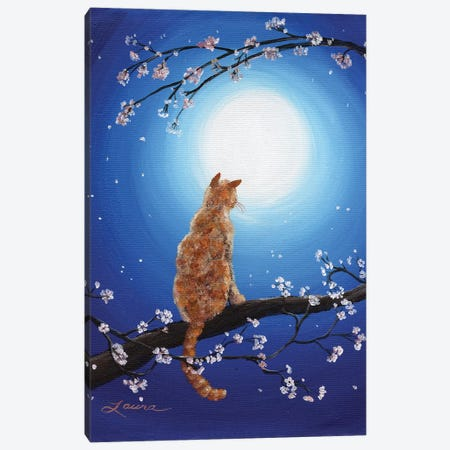 Ginger Cat In Blue Moonlight Canvas Print #LAI42} by Laura Iverson Canvas Artwork