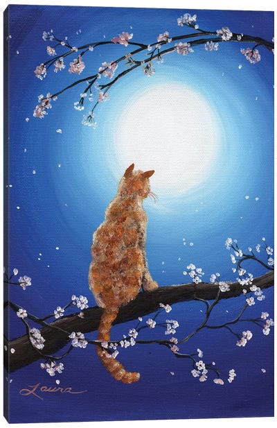 Ginger Cat In Blue Moonlight Canvas Art Print