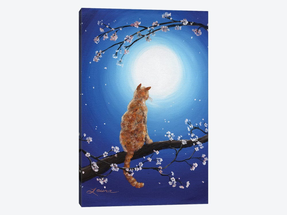Ginger Cat In Blue Moonlight by Laura Iverson 1-piece Canvas Wall Art