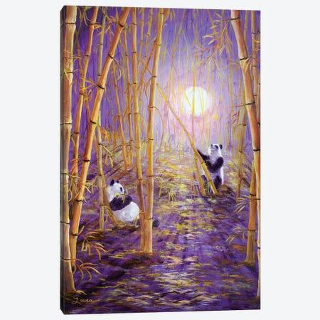 Harvest Moon Pandas Canvas Print #LAI45} by Laura Iverson Art Print