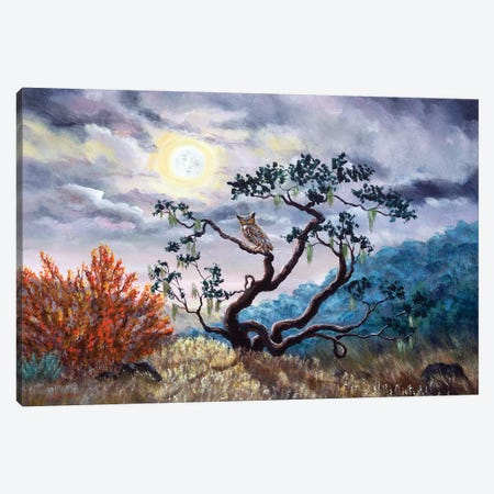 Horned Owl On Moonlit Oak Tree Canvas Print #LAI46} by Laura Iverson Canvas Print