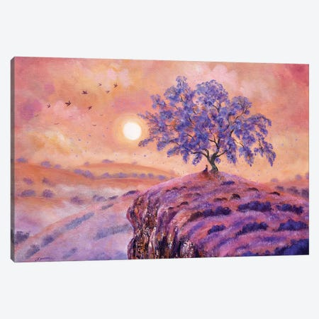 Meditating Under A Jacaranda Tree 3-Piece Canvas #LAI53} by Laura Iverson Art Print