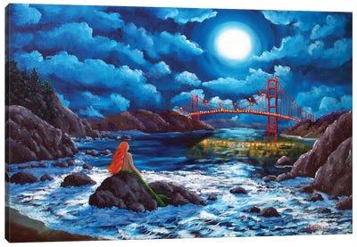 Mermaid At The Golden Gate Bridge Canvas Art Print