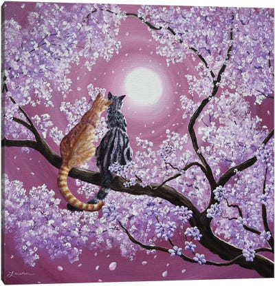 Orange And Gray Tabby Cats In Cherry Blossoms Canvas Art Print
