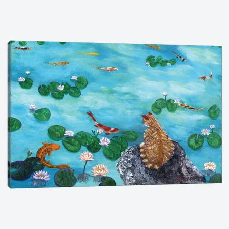 Orange Cat At Koi Pond Canvas Print #LAI63} by Laura Iverson Canvas Art
