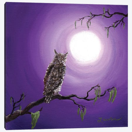 Owl On Mossy Branch Canvas Print #LAI65} by Laura Iverson Canvas Art Print