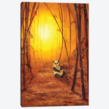Panda In Golden Glow Canvas Print #LAI66} by Laura Iverson Canvas Print
