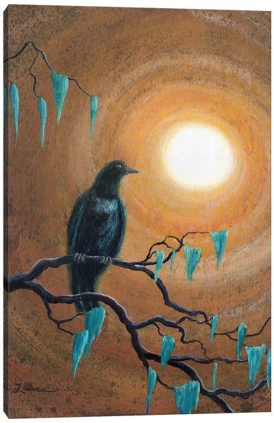 Raven In Dark Autumn Canvas Art Print