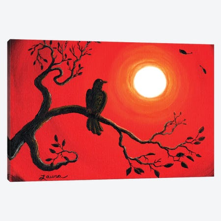 Raven In Red Canvas Print #LAI72} by Laura Iverson Canvas Print