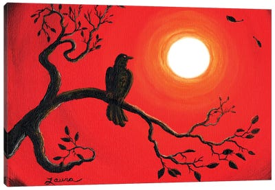 Raven In Red Canvas Art Print