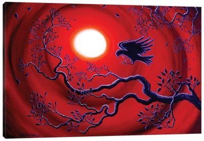 Raven In Ruby Red Canvas Art Print