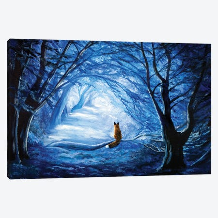 Red Fox In Blue Cypress Grove Canvas Print #LAI74} by Laura Iverson Canvas Artwork