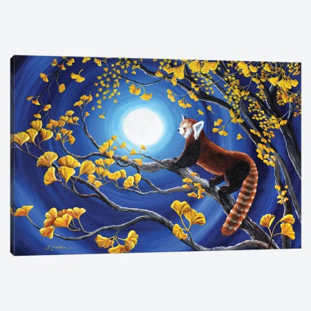 Red Panda In Golden Gingko Tree 3-Piece Canvas #LAI75} by Laura Iverson Canvas Artwork