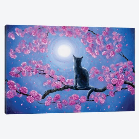 Russian Blue Cat In Pink Flowers Canvas Print #LAI76} by Laura Iverson Canvas Wall Art