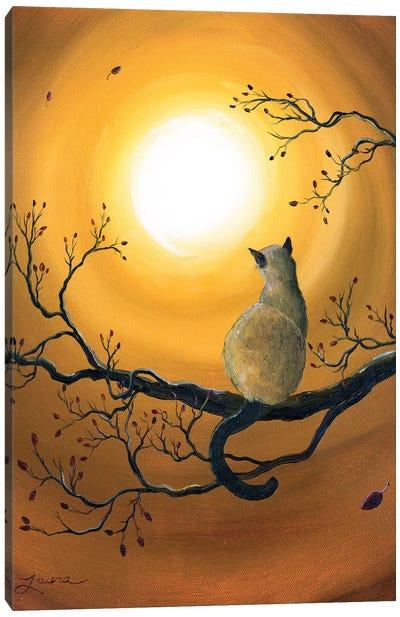 Siamese Cat In Autumn Glow Canvas Art Print