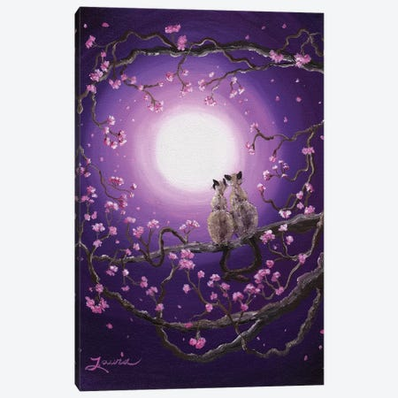 Siamese Cats In Pink Blossoms Canvas Print #LAI84} by Laura Iverson Canvas Art Print