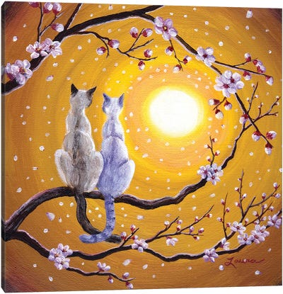 Siamese Cats Nestled In Golden Sakura Canvas Art Print