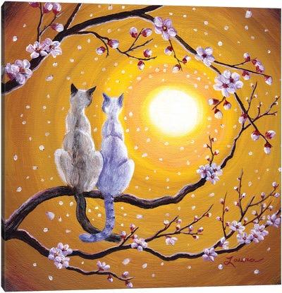 Siamese Cats Nestled In Golden Sakura Canvas Art Print