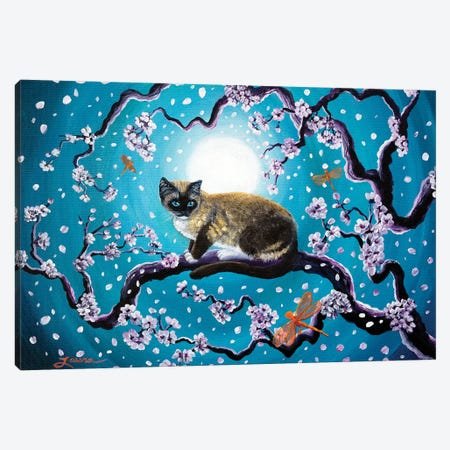 Snowshoe Cat And Dragonfly In Sakura Canvas Print #LAI90} by Laura Iverson Canvas Print