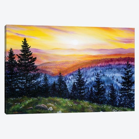 Sunset Over The Hills At Cape Perpetua Canvas Print #LAI95} by Laura Iverson Canvas Art