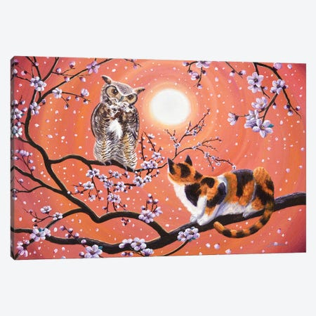The Owl And The Pussycat In Peach Blossoms Canvas Print #LAI99} by Laura Iverson Canvas Art Print