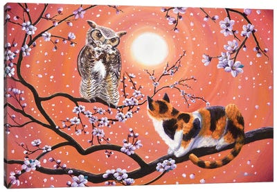 The Owl And The Pussycat In Peach Blossoms Canvas Art Print