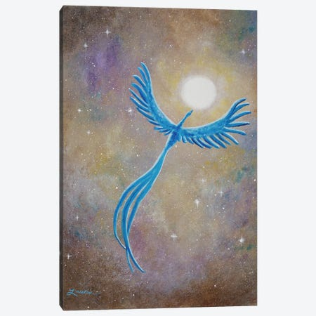Azure Phoenix Rising Canvas Print #LAI9} by Laura Iverson Art Print