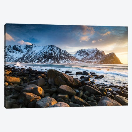Norway, Lofoten, Unstad Beach I Canvas Print #LAJ104} by Mikolaj Gospodarek Canvas Wall Art