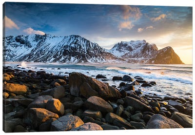 Norway, Lofoten, Unstad Beach I Canvas Art Print