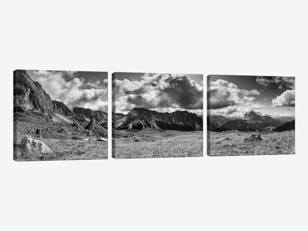 Seceda, Dolomites, Italy (B&W) 3-piece Canvas Wall Art